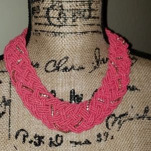 Pink braided bead necklace